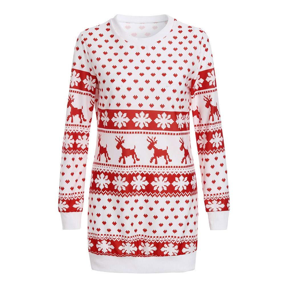 Homebaby Vestito Mini Donna Eleganti Felpa Lunga Babbo Natale Vestito Vintage Sera Festa Abito da Ragazze Gonne A Vita Alta Tutu Principessa Regalo di Natale