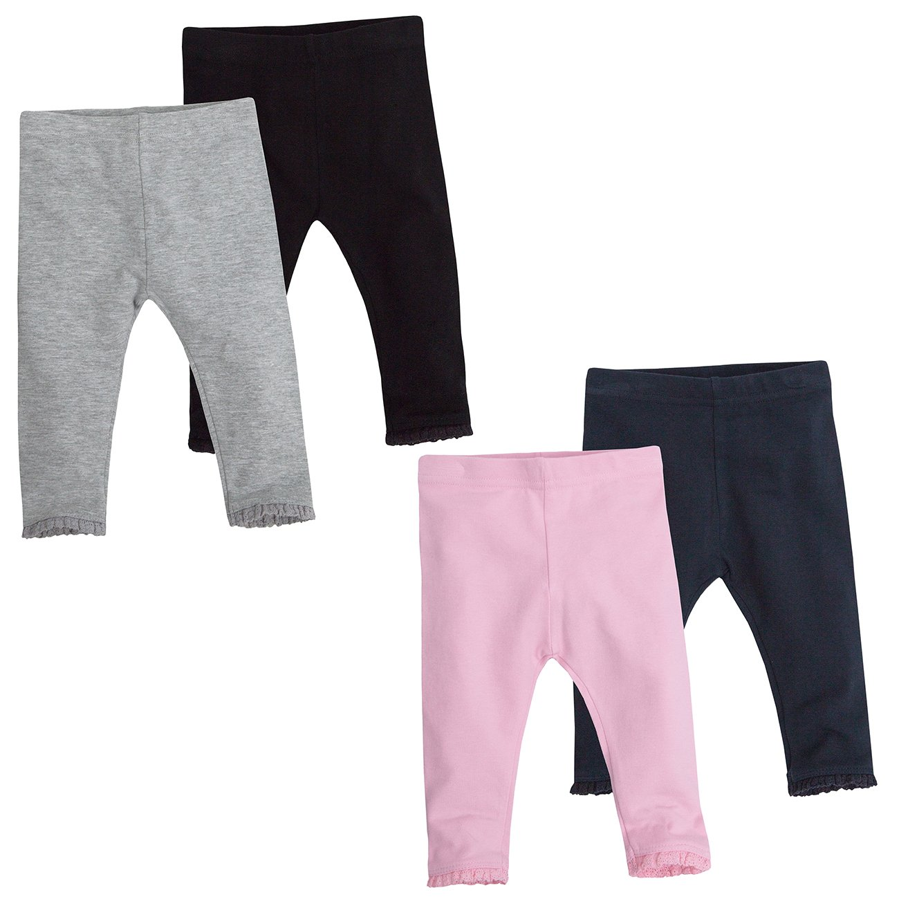 BABY TOWN Babytown Baby Girls Plain Leggings 4-Pack with Lace Trim
