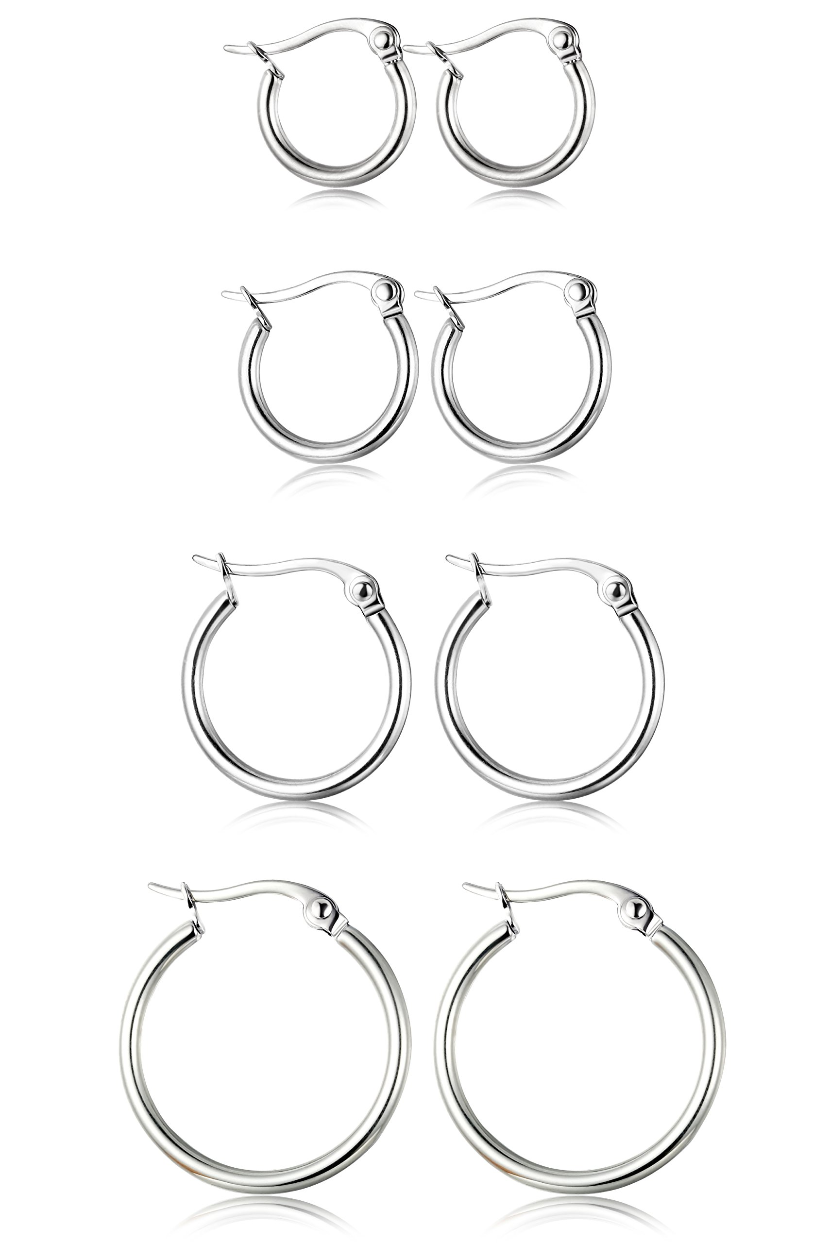 ORAZIO 4 Pairs Stainless Steel Hoop Earrings Set Cute Huggie Earrings for Womena,Silver-Tone,10MM-20MM by ORAZIO