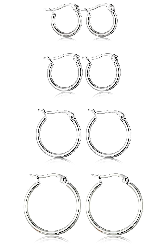 ORAZIO Stainless Earrings Huggie 10MM 20MM Image 1
