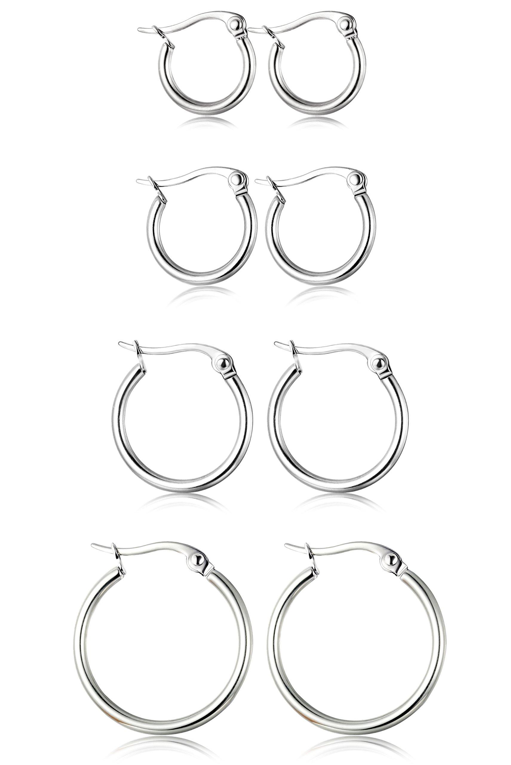 ORAZIO 4 Pairs Stainless Steel Hoop Earrings Set Cute Huggie Earrings for Womena,Silver-Tone,10MM-20MM