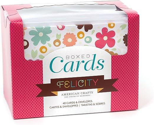 American Crafts Caja Tarjetas y Sobres, Felicity, Varios, 40 Cards ...