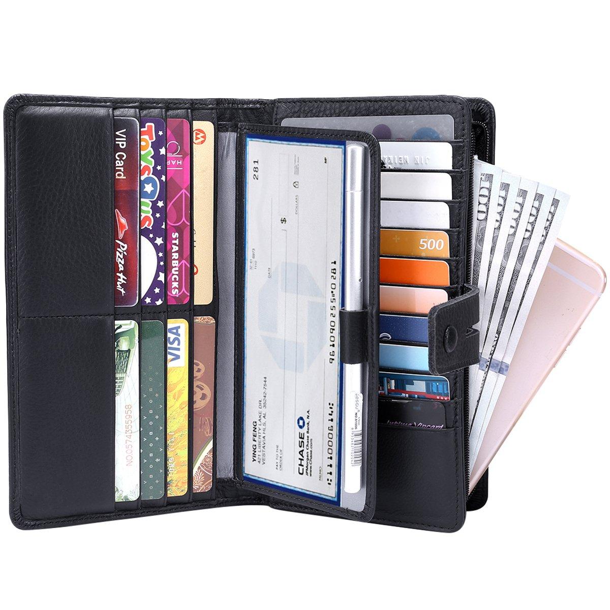 ITSLIFE Women's Big Fat RFID Blocking Leather Wallet Clutch Organizer Checkbook Holder (Black)