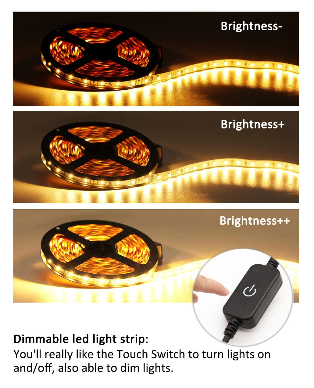 Led Strip Lights 19.6ft/6M Non-waterproof Flexible 360leds Warm White Bed Night Lights Touch Sensor Lighing Kit Manual Bright/Dim Decorate for Mirror cabinets Bed ,Tender Light