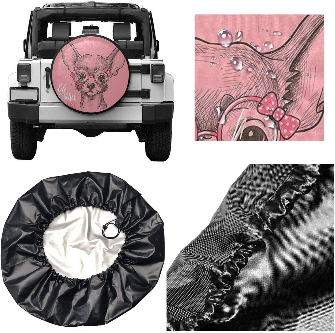 Spare Tire Cover RV Girl Chihuahua Pattern Fit for Jeep,Trailer SUV and Trucks Waterproof Universal Wheel Tire Cover Protector