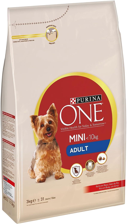 Purina ONE Mini Pienso para Perro Adulto Buey y Arroz 4 x 3 Kg