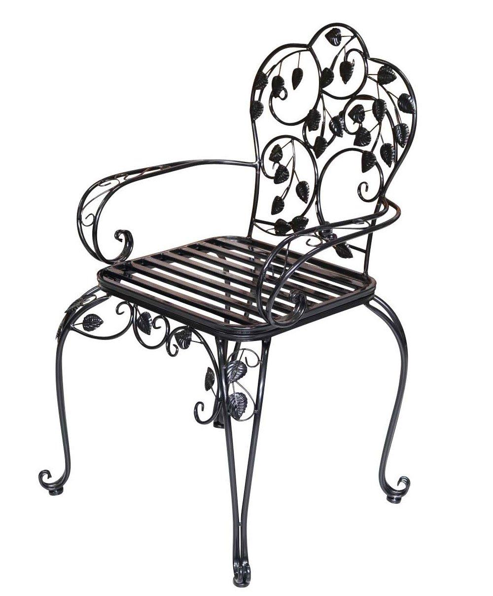 Bistro chair - metal - antique style - garden chair- 93cm - black aubaho