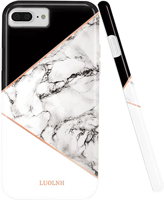 iPhone 8 Plus Case,iPhone 7 Plus Case,LUOLNH Marble Design Slim Shockproof Flexible Soft Silicone Rubber TPU Bumper Cover Skin Case for iPhone 7 Plus/8 Plus -Geometric Black