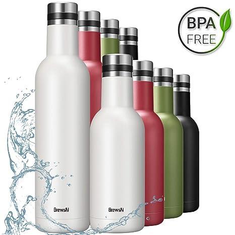 Brewsly Botella de Agua - 750ML de Doble Pared con Aislamiento Botella Térmica, Acero Inoxidable 18/8, Proceso de Recubrimiento en Polvo, Resistencia ...
