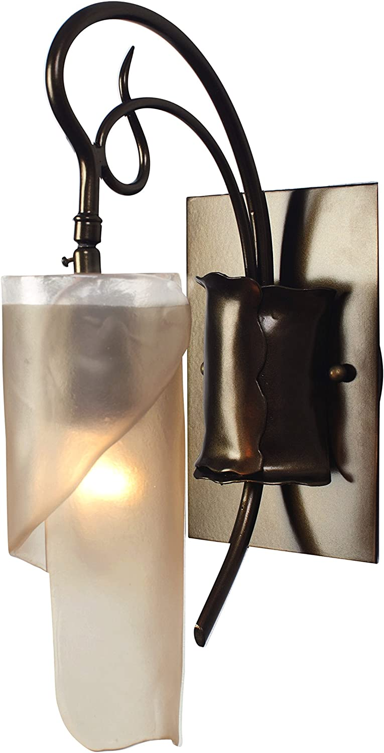 Soho 1-Light Vanity - Statue Garden Finish with Recycled Brown Tint Ice Glass Shade