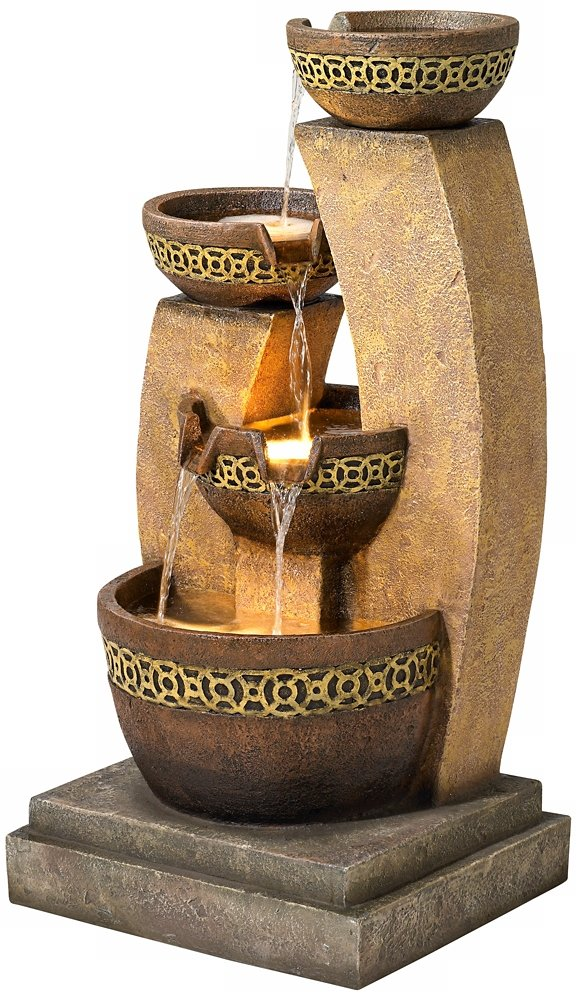 Four Bowl 41 1/2'' High Cascading Fountain by John Timberland (Image #5)
