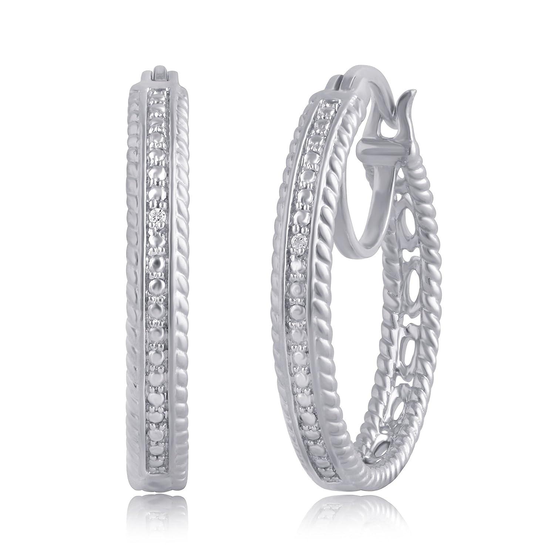 Diamond Accent Single Row hoop Earring