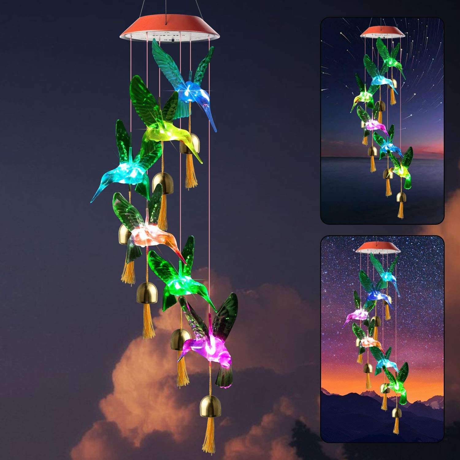 zhengshizuo Solar Hummingbird Wind Chimes String Light Mom Garden Gift Birthday Gifts Solar Outdoor Indoor Color Changing Wind Chimers Night Light Party Decoration String Light