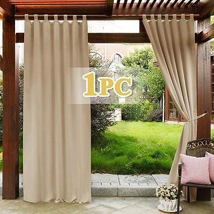 PONY DANCE Cortinas Dormitorio Salon - Cortinas Exterior Jardin Puerta Color Beige 1 Unidad, 132 x 243 cm (An x Al), Separadores Ambientes para ...