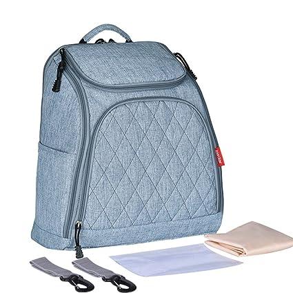 kuuboo mochila para pañales Nappy bolso cambiador con bolsillos con correas para el carrito y cambiador