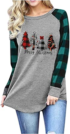Merry Christmas Sweatshirt for Women Christmas Plaid Leopard Tree Print Shirt Blouse Long Sleeve Holiday Shirts Tops