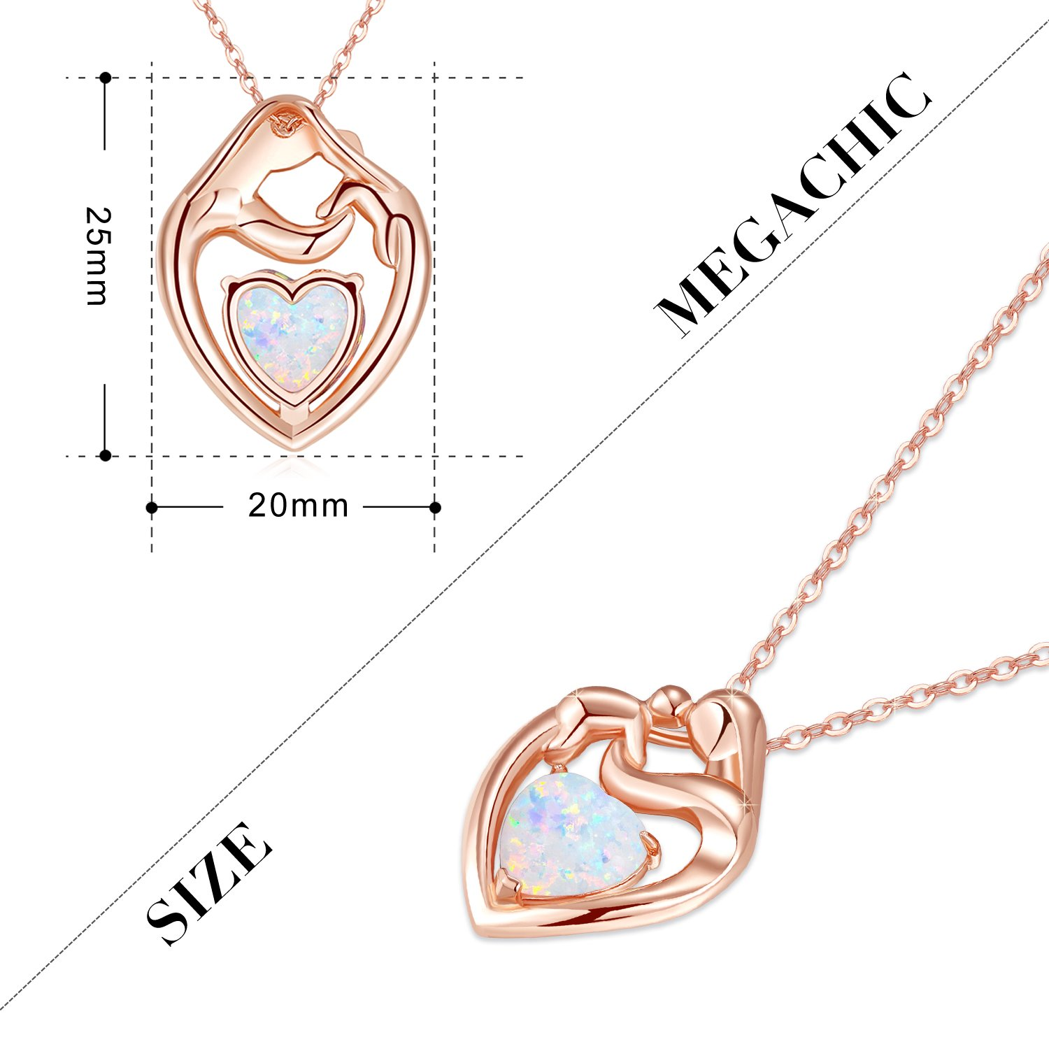 MEGACHIC Women Mother Child Rose Gold Created White Opal Heart Pendant Necklace UOcBpZjB