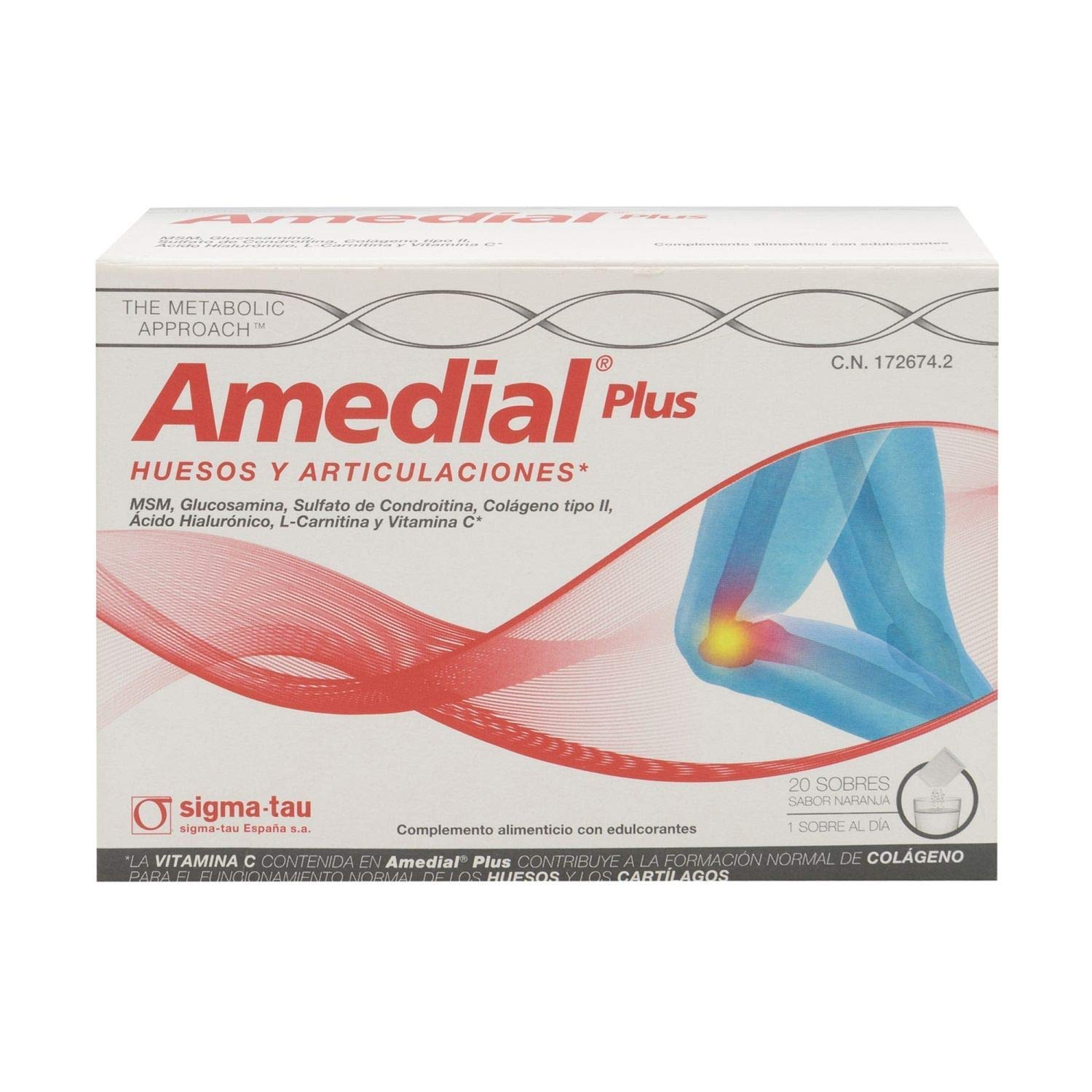 Amazon.com: Sigma Tau Amedial Plus 40 Satchels - Arthritis Treatment - Joint Pain - for Bones and Muscles - Orange Flavor: Health & Personal Care