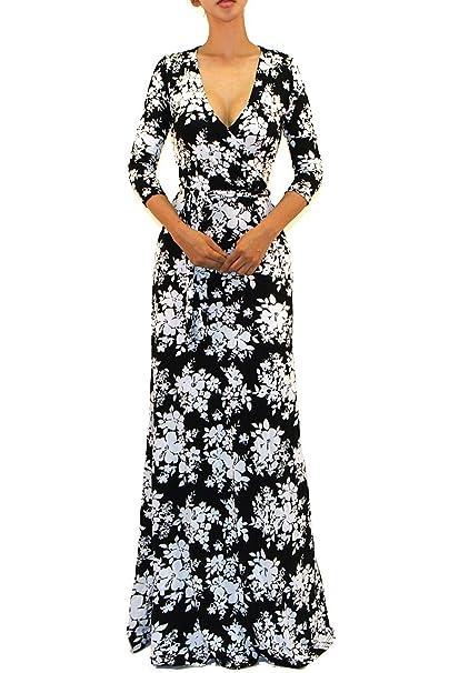 c13c337fd0c Vivicastle Women s Printed V-Neck 3 4 Sleeve Faux Wrap Waist Tie Long Maxi  Dress (Large