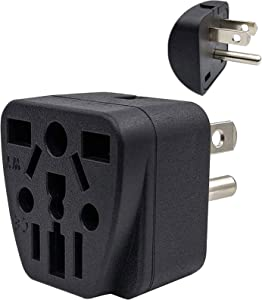 US Travel Plug Adapter EU/UK/AU/in/CN/JP/Asia/Italy/Brazil to USA (Type B), 3 Prong Grounded USA Wall Plug, International Mini Travel Adapter and Converter, Wall Outlet Power Charger Converter Black