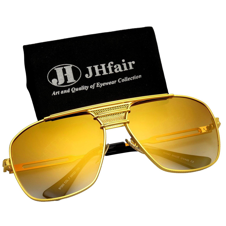 JHfair Brand Designer Large Square Metal Aviator Fashion Sunglasses Mens