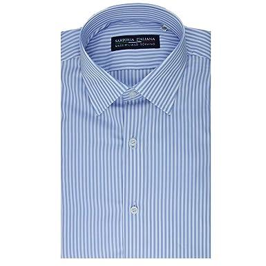 d249d3c2e344 SARTORIA ITALIANA MASSIMILIANO SORVINO Camicia Regular Fit con Pinces rigo  Celeste Made in Italy  Amazon.it  Abbigliamento