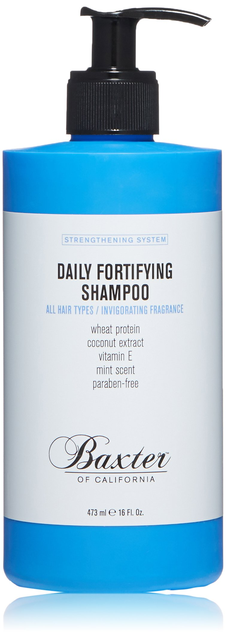 Baxter of California Daily Fortifying Shampoo for Men | All Hair Types| Cleanses and Strengthens | Fresh Mint Scent | 16 oz.