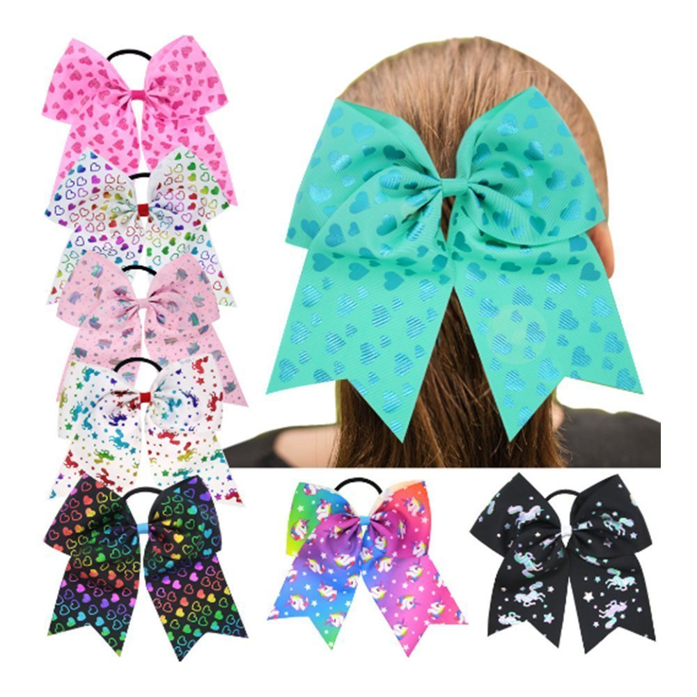 Taonaisi Girls Unicorn elastici per capelli Fermacoda fiocco 4set no crease nastro elastici Fermacoda bomboniere (Gruppo One (4SET))