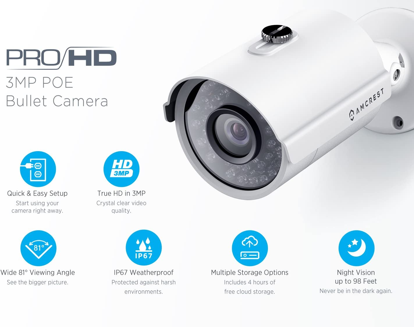 3MP IP3M-954E Amcrest ProHD Outdoor 3 Megapixel POE Bullet IP Security Camera White 2048 TVL Renewed IP67 Weatherproof