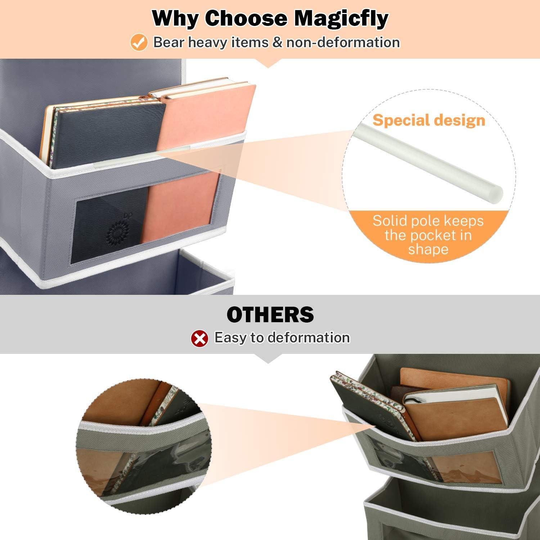Magicfly Organizador para Puerta con 5 Compartimientos Estanter/ía Colgante de Almacenaje de Juguetes Gris Organizador Vertical del Tipo Bolsillo Libros Art/ículos Peque/ños
