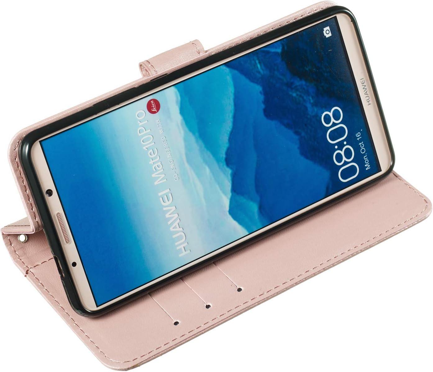 LOYHU250283 L3 Lomogo Huawei Mate 10 Pro Case Leather Wallet Case with Kickstand Card Holder Shockproof Flip Case Cover for Huawei Mate 10 Pro