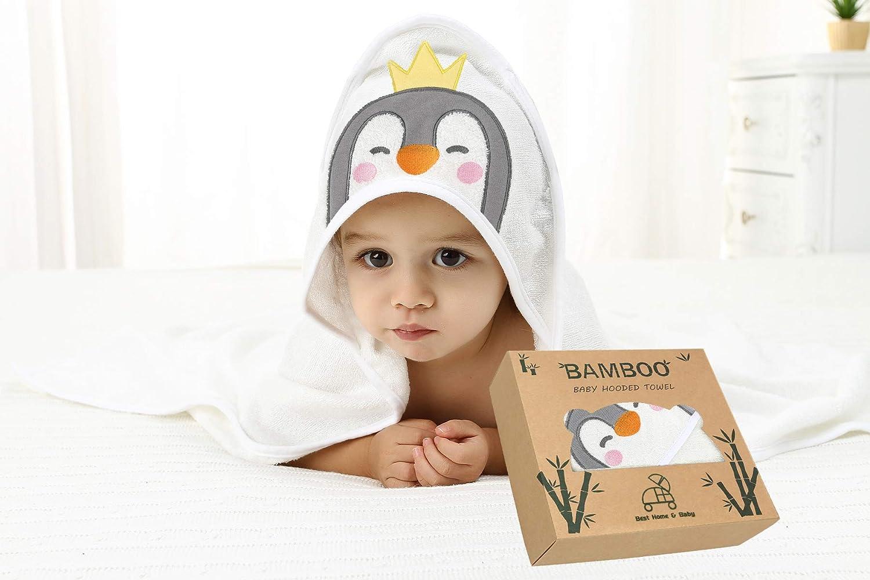 Kleinkinder und Kinder sehr weich Geschenkbox f/ür M/ädchen Jungen Pengiun Baby Kapuzenhandtuch sehr strapazierf/ähig 90 x 90 cm Babys 500 g//m/² Gr/ö/ße L 100/% Bambus Neugeborene