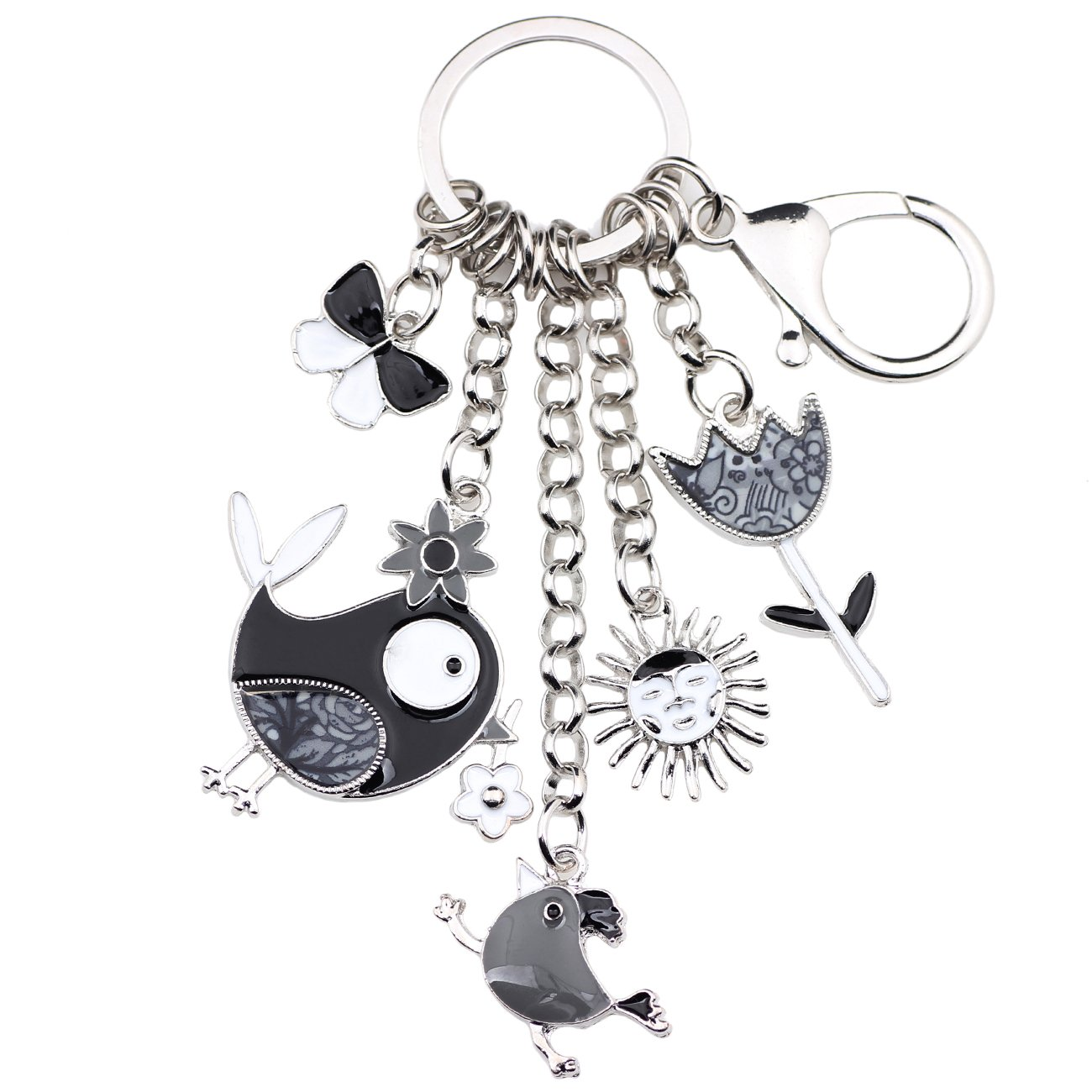 Bonsny Enamel Zinc Alloy Birds Flower Butterfly Key Chains Keyrings For Women Handbag Car Key Charms (Grey)