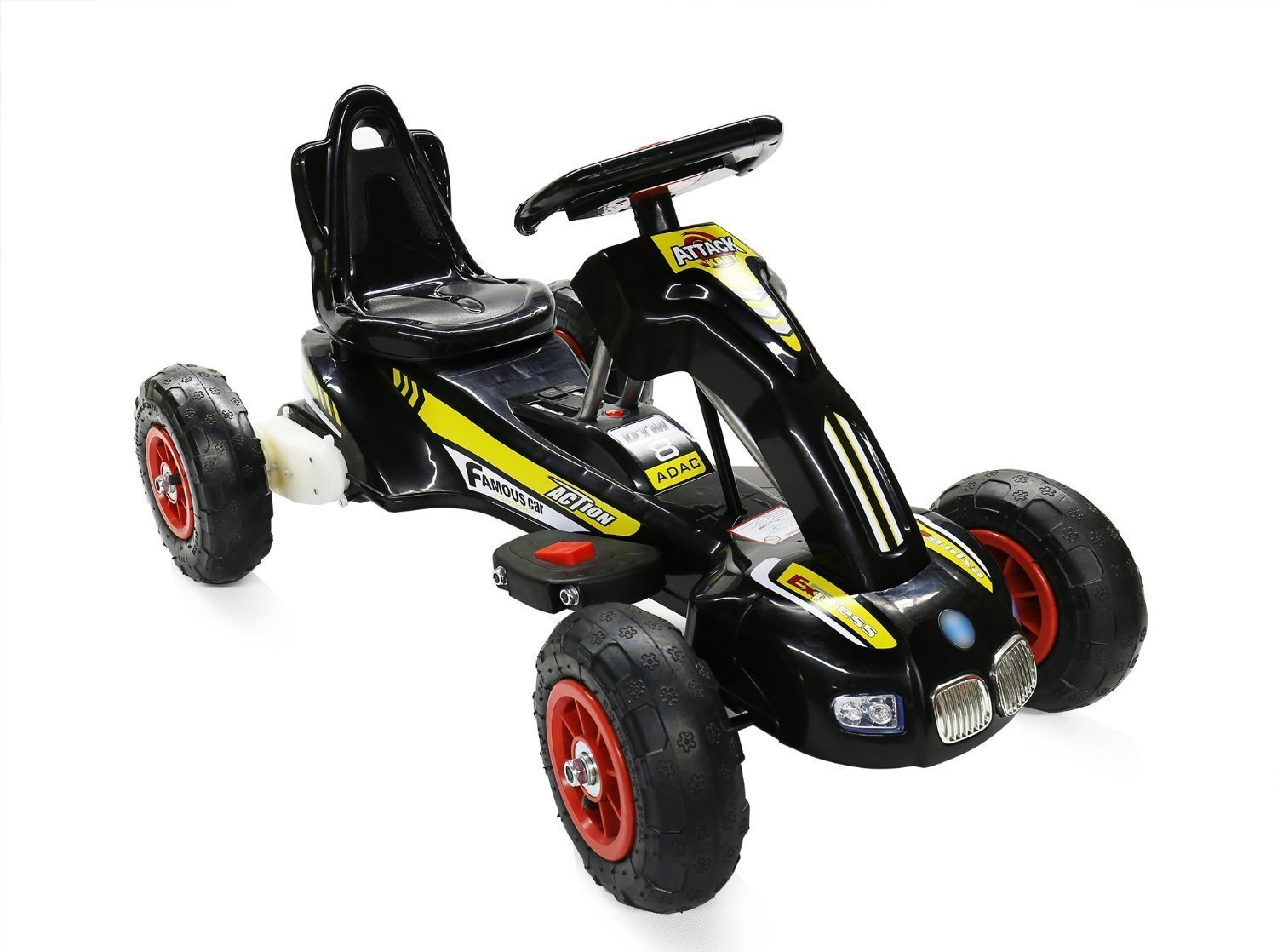 12W Battery Powered Ride on Go Kart for kids with Air Wheels LED Light Foot Brake (S1288 BLACK) RICCO