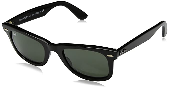 49a47cbd58b Ray-Ban Original Wayfarer Sunglasses (RB2140 50) Black Matte Green Acetate -