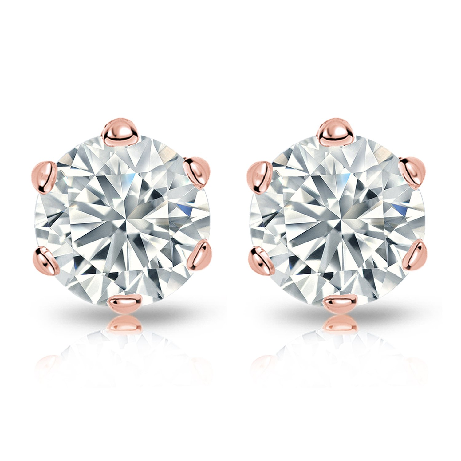 14k Rose Gold Mens Round Diamond Simulant CZ Stud Earrings 6-Prong 1//2-2cttw,Excellent Quality
