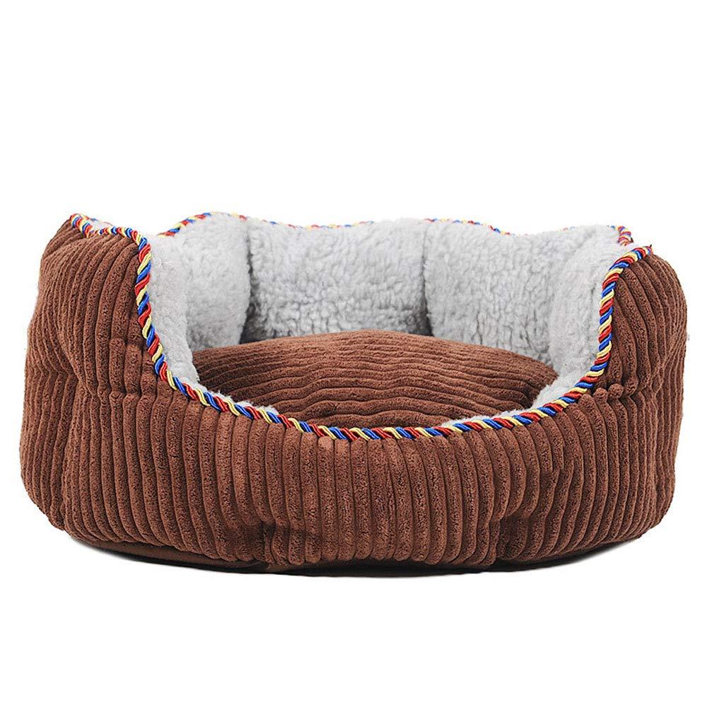 Brown Medium Brown Medium Soft Washable Dog Pet Warm Basket Bed Cushion Sofa Pet Pillow, Using Coral Fleece, Oxford Fabric (color   Brown, Size   Medium)