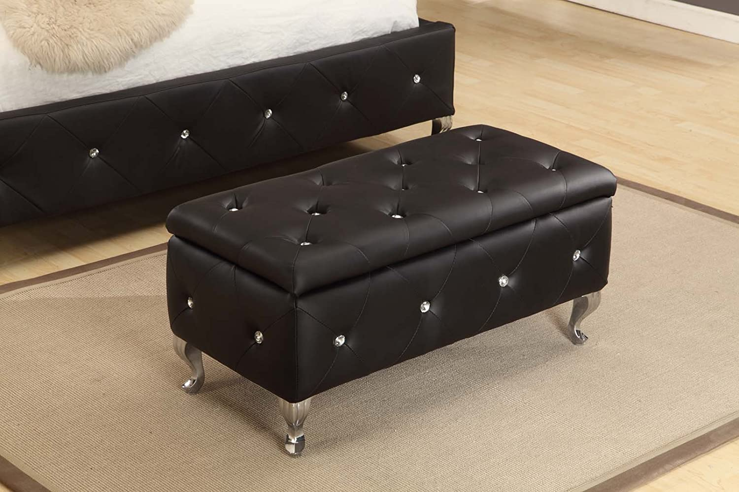 amazoncom kings brand furniture tufted design upholstered storage bench ottoman black kitchen u0026 dining