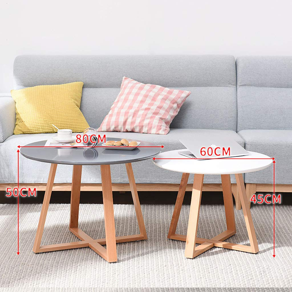 Garde Side Table, Simple Mini Bedroom Modern Home Small Coffee Table, Solid Wood Creative Leisure Negotiation Small Table (Two Sets) (Color : B) by Garde