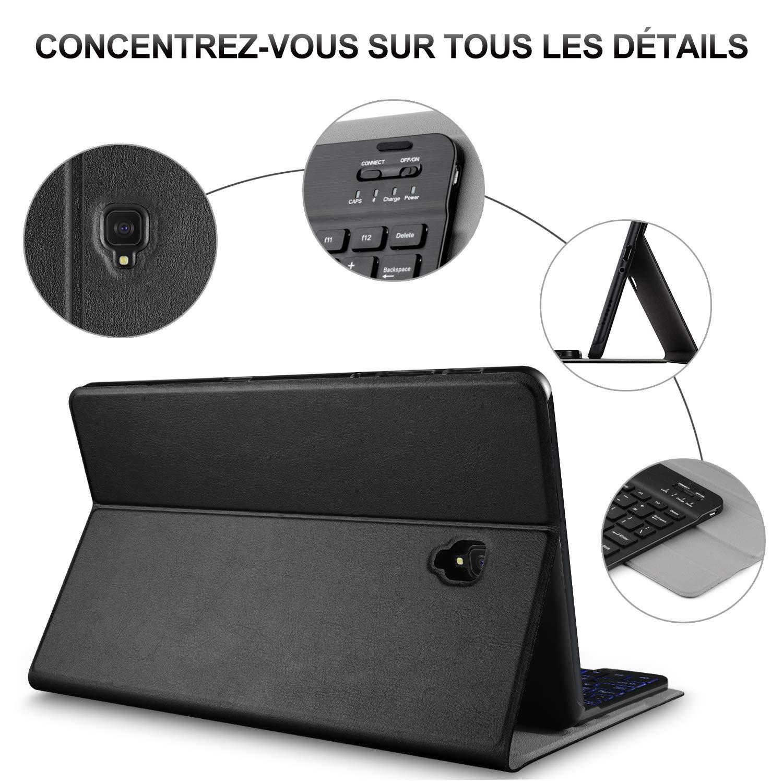 Negro /ñ ELTD Teclado Funda para Samsung Galay Tab S4 T830//T835 10.5 Pulgadas, Protectora Cover Funda con Desmontable Wireless Teclado para Samsung Tab S4 10.5 Pulgadas, Espa/ñol, con la tecla