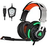 SUPSOO G800 USB Wired Surround Stereo PC Over Ear Gaming Headset Headband Gaming Headphones with Rotating Mic Noise Canceling Vibration Tuner Function and LED Light(black)