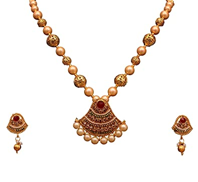 c286fc3219 Buy Sitashi Artificial Jewellery White Pearl Golden Pendant Necklace ...