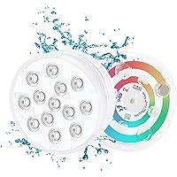 Wasenir 2PCS Luz subacuática, RGB Multi cambio de color impermeable LED luces con ventosa para piscina, acuario…