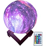 BRIGHTWORLD Moon Lamp Kids Night Light Galaxy Lamp 5.9 inch 16 Colors LED 3D Star Moon Light with Wood Stand, Remote…