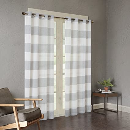 Urban Habitat White Grey Grommet Curtains For Living Room, Mason Striped  Window Curtains For Bedroom