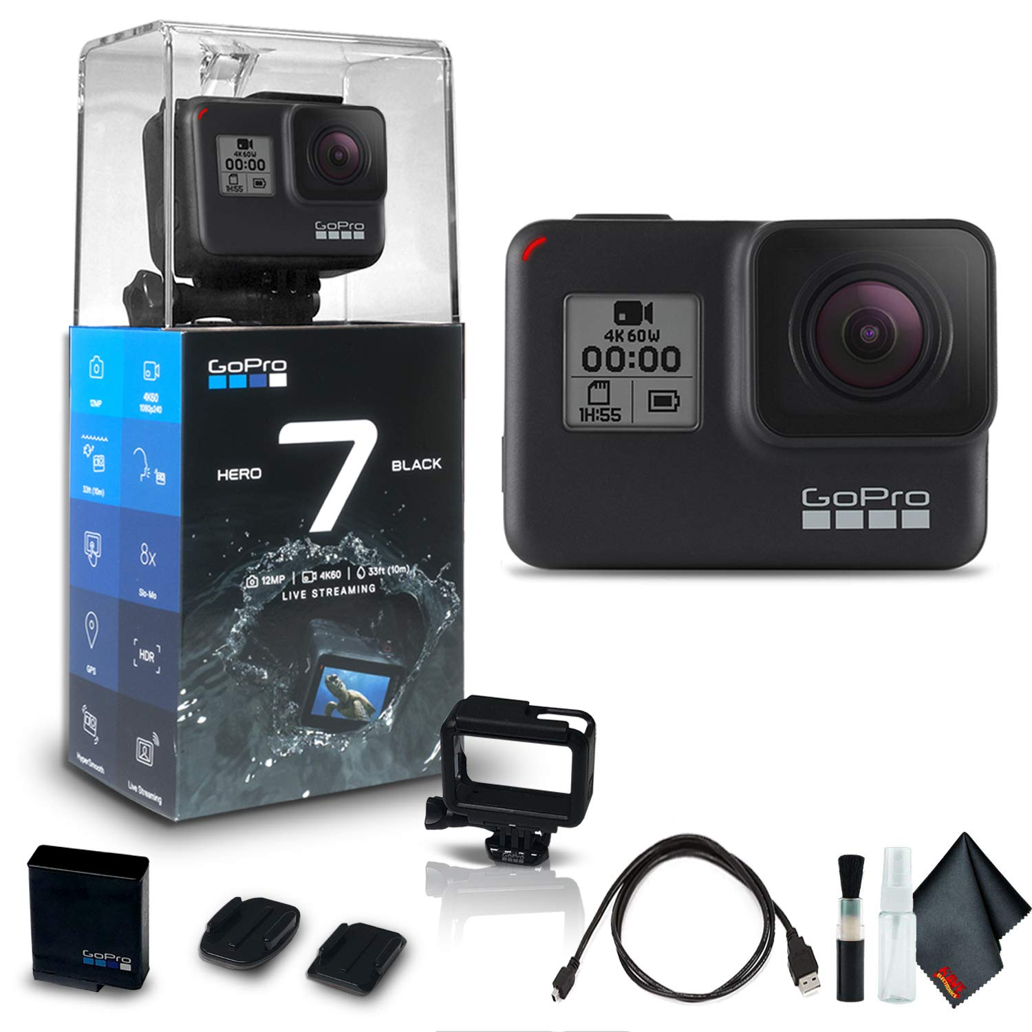 GoPro HERO7 Black - Waterproof Action Camera with Touch Screen (HERO7 Black), 4K HD Video, 12MP Photos, Live Streaming and Stabilization - Base Kit by GoPro