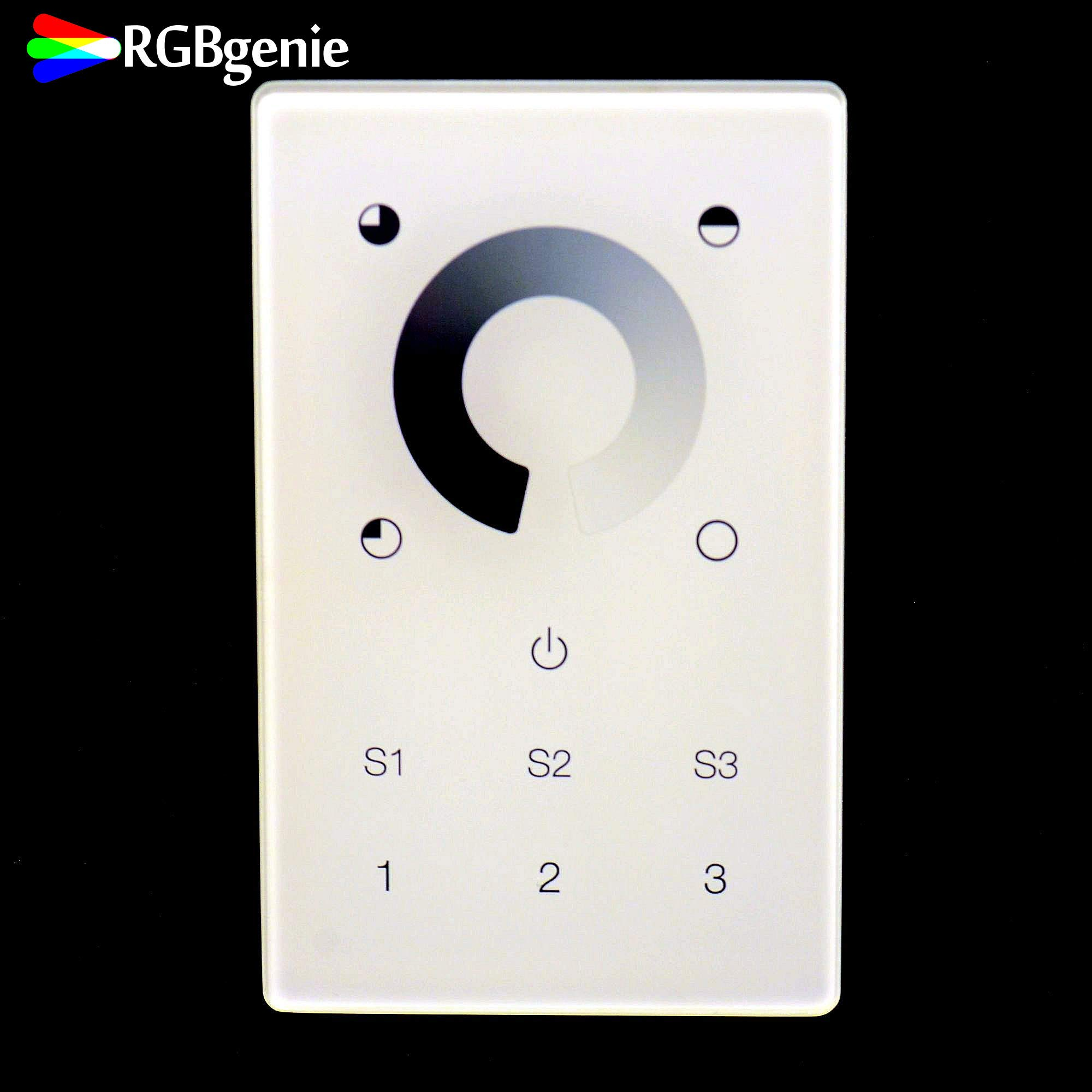 Z-Wave Touch Panel Controller and Dimmer with Built-in Repeater. Can control up to 12 Z-Wave strip lights or bulbs. Single Color, 3 Zone, 3 Scene recall, 110v input. RGBgenie ZW-3001 (white) by RGBgenie (Image #4)