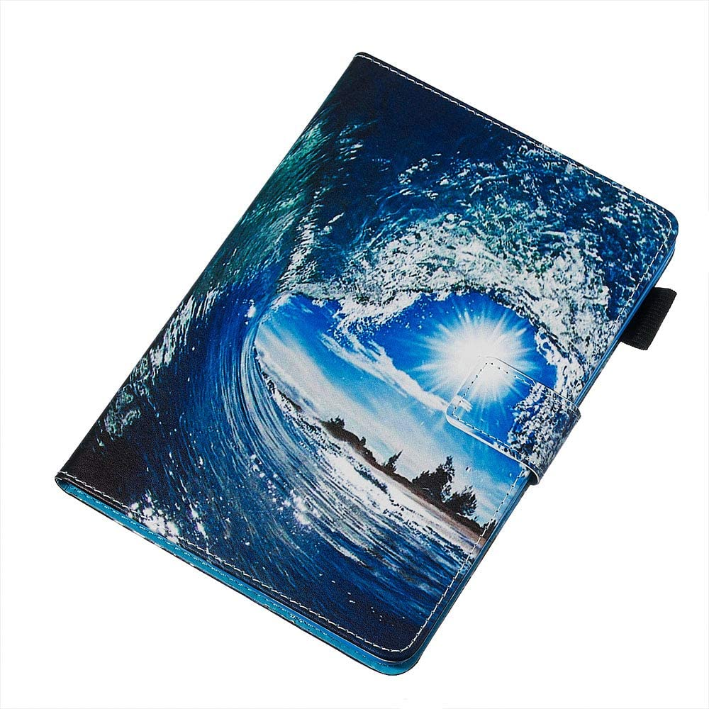 Jorisa Tablet Case Compatible with Samsung Galaxy Tab S5e SM-T720//T725,Slim Leather Wallet Flip Magnetic Smart Stand Cover with Auto Wake//Sleep and Card Slots,Wave Sun