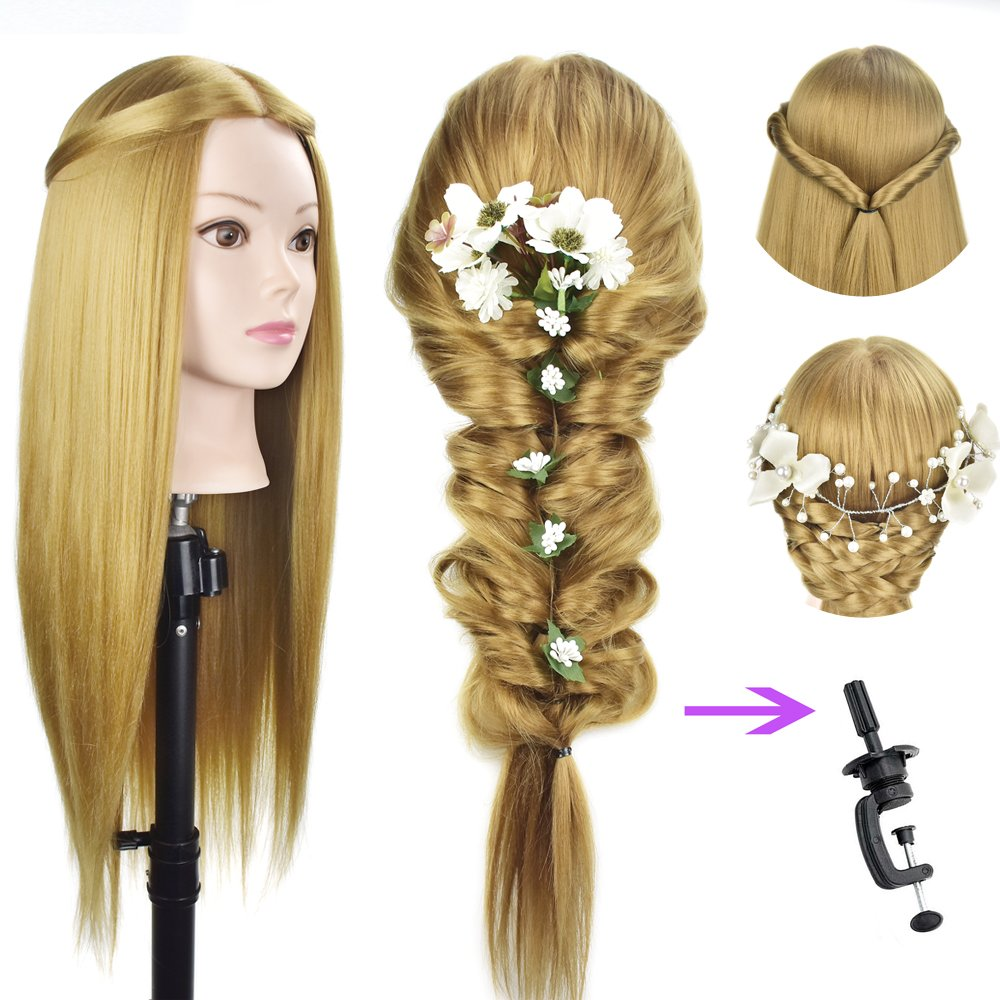 26''-28''Mannequin Head Cosmetology Manikin Professional Hairdresser Head Doll Head Synthetic Fiber Styling with Free Clamp