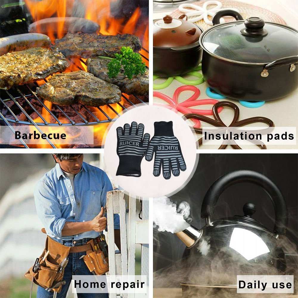 Ruicer Premium Grillhandschuhe Ofenhandschuhe BBQ hitzebeständige Handschuhe bis zu 500 °C Topfhandschuhe Backhandschuhe EN407 Beglaubigte 1 Paar Schwarz